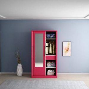 Godrej Interio Slide N Store Pro With Mirror Wardrobe (Tex Blush Red)