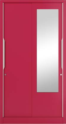 Godrej Interio Slide N Store Pro With Mirror Wardrobe (Tex Blush Red)