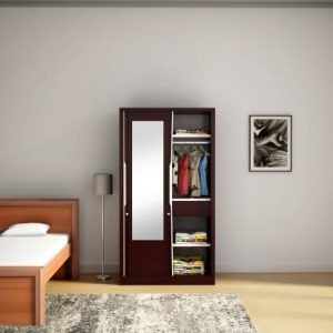 Godrej Interio Slide N Store Pro With Mirror Wardrobe (Tex Shell Wine Red)