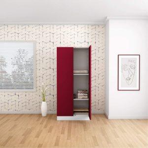 Godrej Interio Slimline 2 Door Steel Almirah with 2 Shelves and Mirror (Ceremine Red)
