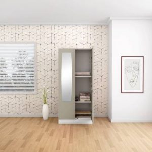 Godrej Interio Slimline 2 Door Steel Almirah with 2 Shelves and Mirror (Royal Ivory)