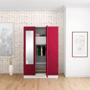 Godrej Interio Slimline 3 Door With Locker Metal Almirah (Finish Color - Ceremine Red)