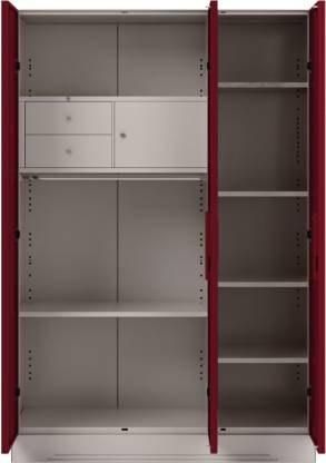 Godrej Interio Slimline 3 Door With Locker Metal Almirah (Finish Color - Ceremine Red)