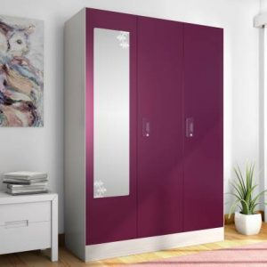 Godrej Interio Slimline 3 Door With Locker Metal Almirah (Finish Color - Textured Purple)
