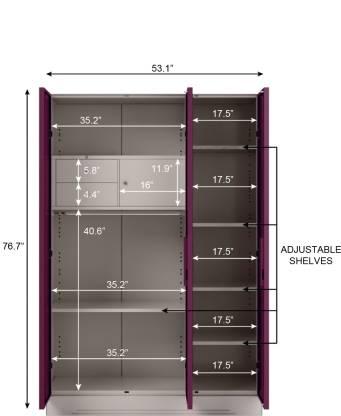 Godrej Interio Slimline 3 Door With Locker Metal Almirah (Finish Color - Textured Purple)