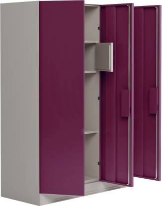 Godrej Interio Slimline 3 Door With Locker and Drawer Metal Almirah (Finish Color - Ceremine Red)