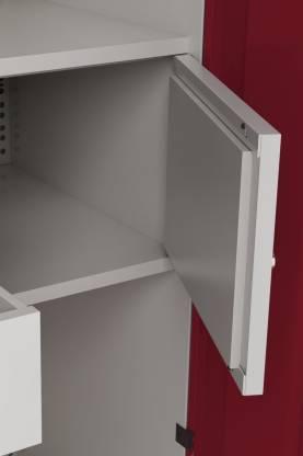 Godrej Interio Slimline 3 Door With Locker and Drawer Metal Almirah (Finish Color - Ceremine Red)