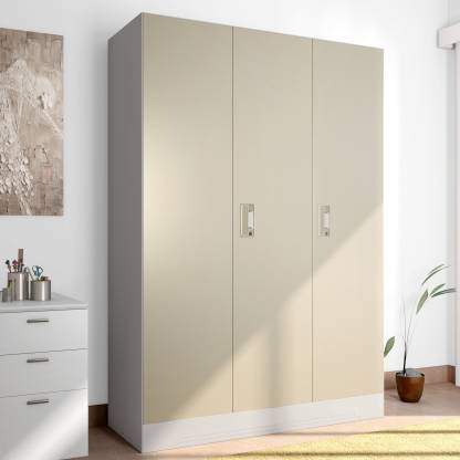 Godrej Interio Slimline 3 Door With Locker and Drawer Metal Almirah (Finish Color - Royal Ivory)
