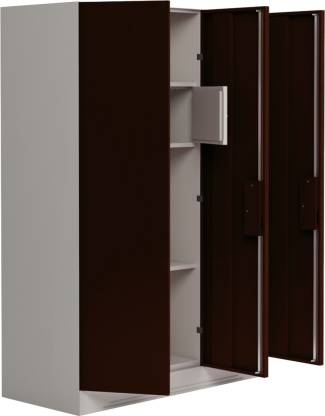 Godrej Interio Slimline 3 Door With Locker and Drawer Metal Almirah (Finish Color - Russet)