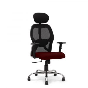 Symphony Maroon Mesh Fix Headrest Back Chair