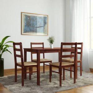 Winston Upholstered Wenge Solid Wood 4 Seater Dining Set