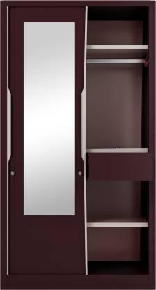 Godrej Interio Slide N Store Pro With Mirror Wardrobe (Tex Shell Wine Red)