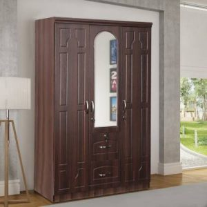 Alster Walnut Engineered Wood 3 Door Wardrobe