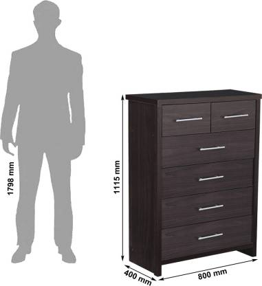 Arno Wenge Engineered Wood Free Standing Chest of Drawers