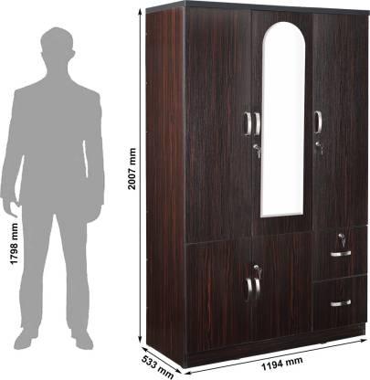 Boyne Dark Walnut Engineered Wood 3 Door Wardrobe