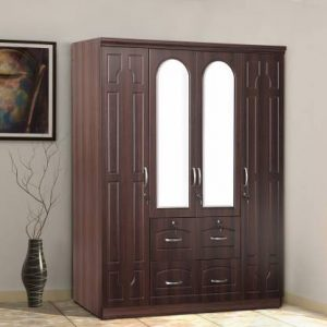 Eider Walnut Engineered Wood 4 Door Wardrobe