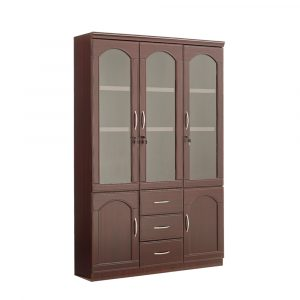 Saco 3 Door Wooden BookshelfBook Case Almirah
