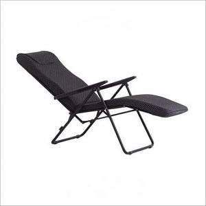 Luxor Black Portable Folding Recliner Chair