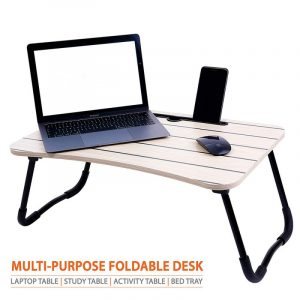 Cloud Striped Maple Wood Foldable Multi-Purpose Laptop Table